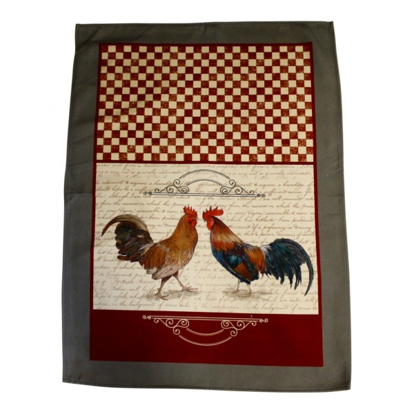 Kitchen Dish Towels, Set of 3, Cotton, French Provence Design \