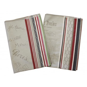 "French Kitchen Towels, set of 2, French designs ""Paris Chic"" and ""le Journal des Poules"", Made in France"