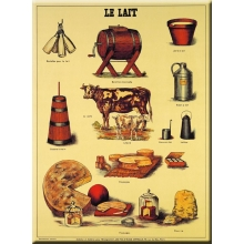 "French Metal Sign 12""x 16"" LE LAIT"