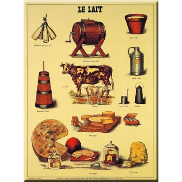 "French Metal Sign LE LAIT - Milk french cheeses 12""x16"""