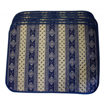 Set of 6 Rectangular Quilted Placemats, French Provence Design, light blue and white
