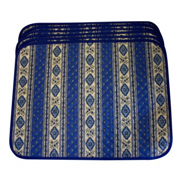 Set of 6 Rectangular Quilted Placemats, French Provence Design, blue and white