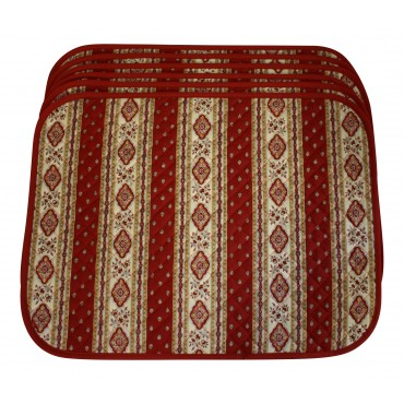 Set of 6 Rectangular Quilted Placemats, French Provence Design, red and white