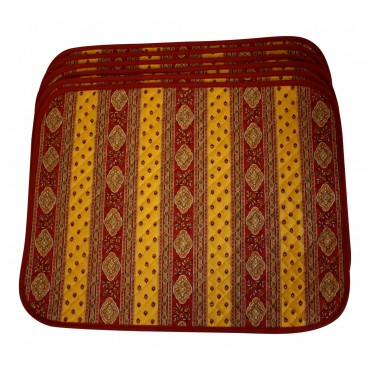 Set of 6 Rectangular Quilted Placemats, French Provence Design, red and orange