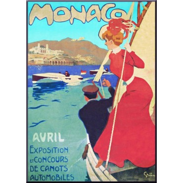 "French Metal Sign Monaco Avril By Grun 5.9""x8.3"""