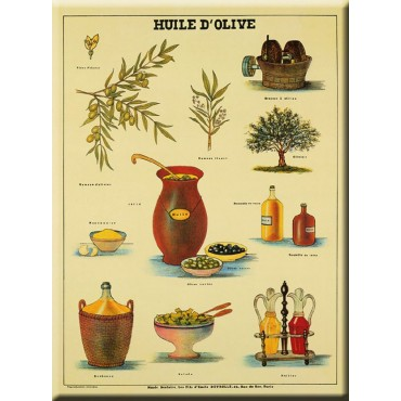 "French Metal Sign L'HUILE D'OLIVE Olive oil 12""x16"""