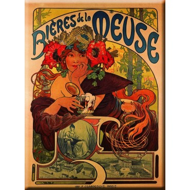 "French Metal Sign Biere De La Meuse By Mucha 12""x16"""