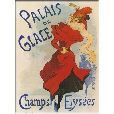 "French Metal Sign Palais des Glaces Cheret 5.9""x8.3"""