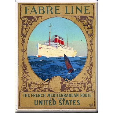 "French Metal Sign Fabre Line Transatlantic 5.9""x8.3"""