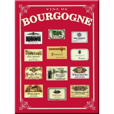 "French Metal Sign 5.9"" x 8.3"" Vins de Bourgogne"
