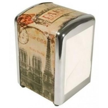 "French Napkins dispenser ""Paris Monuments"" + 1 refill of 100 napkins"