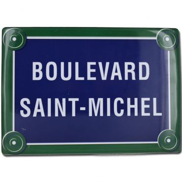 "French Metal Sign Blvd St Michel Paris 5.9""x8.3"""