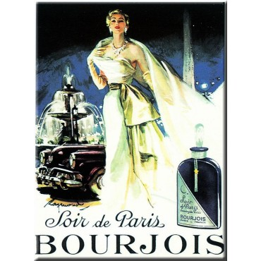 "French Metal Sign Bourjois Soir de Paris Fountain 5.9""x8.3"""