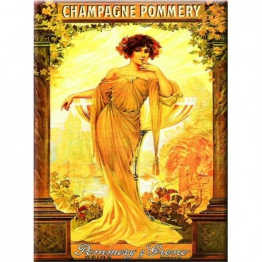 "French Metal Sign Pommery Champagne 5.9""x8.3"""