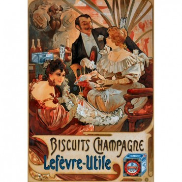"French Metal Sign Biscuits Lefevre-Utile Bar 5.9""x8.3"""