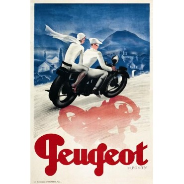 "French Metal Sign Cycle Peugeot By Max Ponty 5.9""x8.3"""