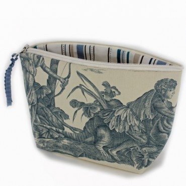 Toile  Makeup Pouch - blue or red -