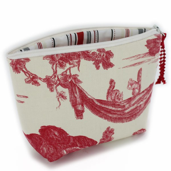 Toile makeup pouch blue or red ebay - Papel pintado toile de jouy ...
