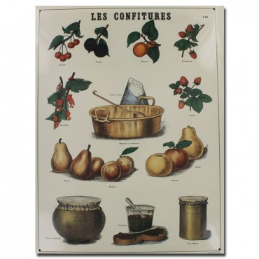 "French Metal Sign LES CONFITURES 12""x16"""