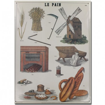 "French Metal Sign  LE PAIN-BREAD 12""x16"""