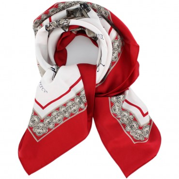 "French Silk Scarf La Parisienne - square 35"" x 35"" - Red"