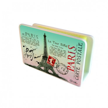 "French Ceramic Sponge Holder ""Paris Post Card"""