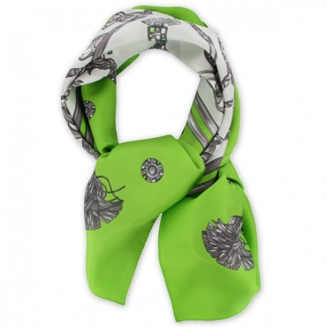 French Silk Scarf - Etrier - Equestrian - Green
