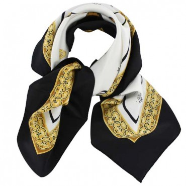 French Silk Scarf La Parisienne Black
