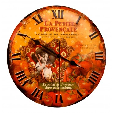 "French Wall Clock  - La Petite Provencale - 12"" - Metal Embossed -"