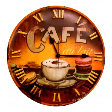 "French Wall Clock - Cafe et Macaron - 12"" - Metal Embossed"