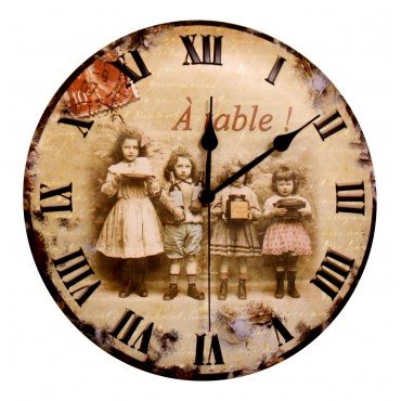 "French Wall Clock - ""A table !"" - 12"" - Metal Embossed"