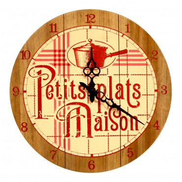 "French Wall Clock - Petits Plats Maison - 14"" - Wood -"