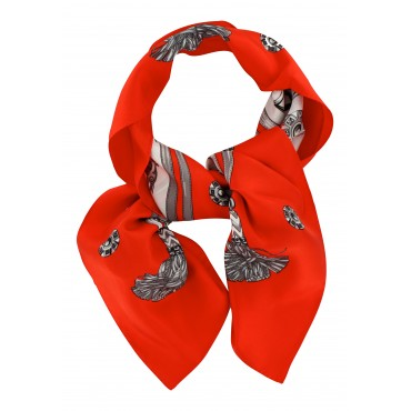 French Silk Scarf - Etrier - Equestrian - Poppy
