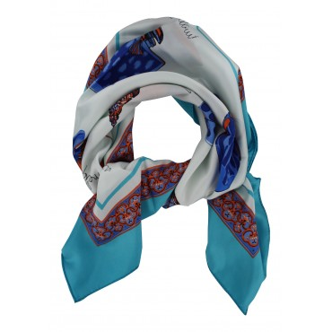 "French Silk Scarf La Parisienne - square 35""x35"" - Turquoise"