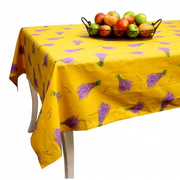 "Provence Tablecloth - ""Lavande"" - Saffron - Rectangular 98""x63"" - 100% cotton - Made in France -"