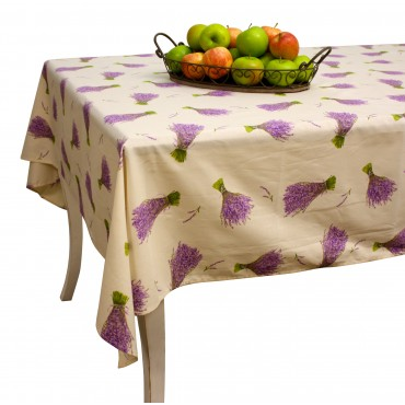 "Provence Tablecloth - ""Lavande"" - Ivory - Rectangular 98""x63"" - 100% cotton - Made in France -"
