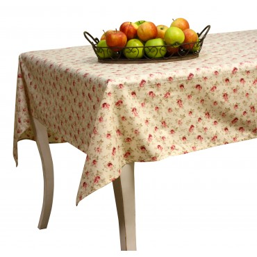 "Provence Tablecloth - ""Betty"" - Ivory - Rectangular 98""x63"" - 100% cotton - Made in France -"