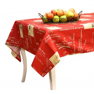"French large Tablecloth - ""Bistrot Patchwork"" - Red - Rectangular 138""x63""  - 100% cotton - Made in France -"