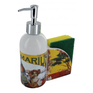 "French Kitchen soap dispenser ""Pastis Marius"" with sponge holder"
