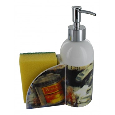 "French Kitchen soap dispenser ""Biscuits"" with sponge holder"