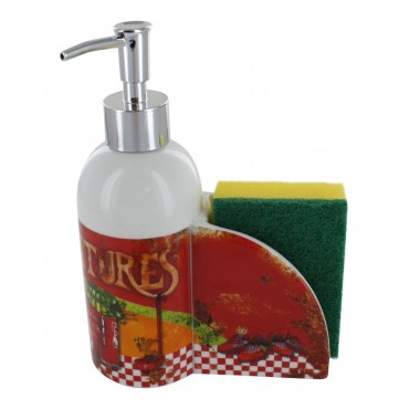 "French Kitchen soap dispenser ""Confitures"" with sponge holder"