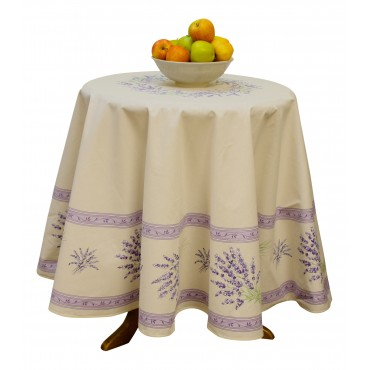 "Provence Tablecloth - ""Lavender Valensole"" - Ivory - Round 70"" - 100% cotton - Made in France -"