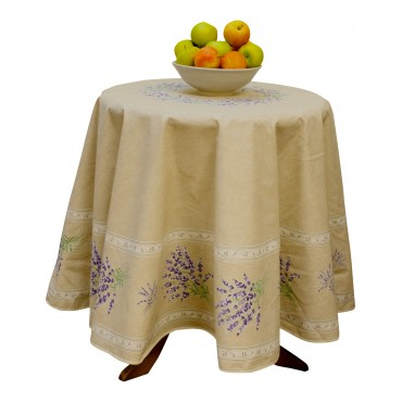 "Provence Tablecloth - ""Lavender Valensole"" - Natural - Round 70"" - 100% cotton - Made in France -"