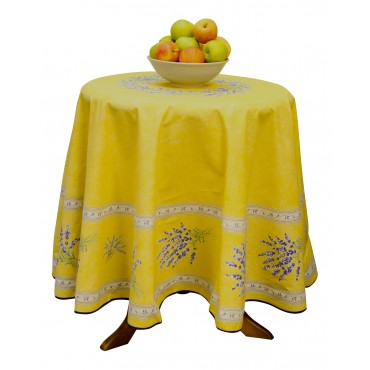 "Provence Tablecloth - ""Lavender Valensole"" - Yellow - Round 70"" - 100% cotton - Made in France -"