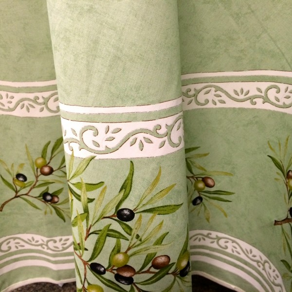 "Details about Provence Tablecloth - ""Olive tree"" - Green - Round 70 ..."