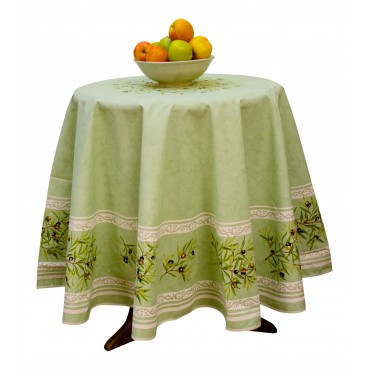 "Provence Tablecloth - ""Olive tree"" - Green - Round 70"" - 100% cotton - Made in France -"