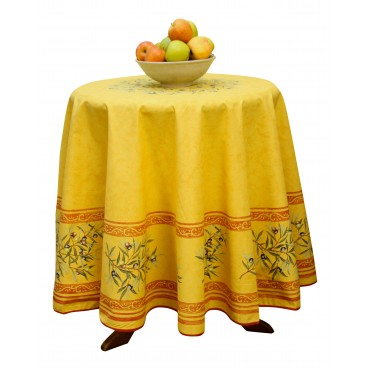 """Provence Tablecloth - """"Olive tree"""" - Yellow - Round 70"""" - 100% cotton - Made in France -"""