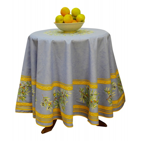 "Provence Tablecloth - ""Olive tree"" - Blue - Round 70"" - 100% cotton ..."
