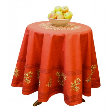 "Provence Tablecloth - ""Olive tree"" - Red - Round 70"" - 100% cotton - Made in France -"