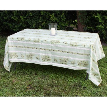 "Provence Tablecloth - ""Olive tree"" - Green - Rectangular 98"" x 63"" - 100% cotton - Made in France -"